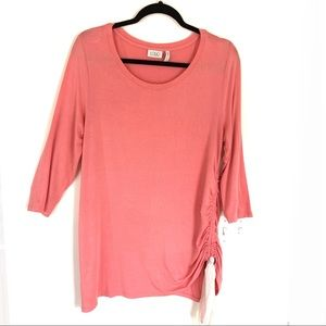 LOGO Lori Goldstein Cinched Side Tie Tunic Blouse